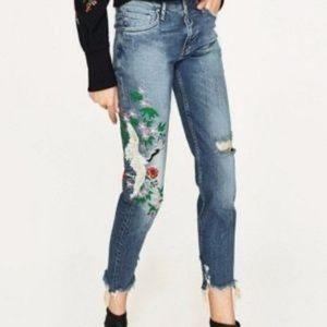 Zara Woman Slim Boyfriend Crane Embroidered Jeans